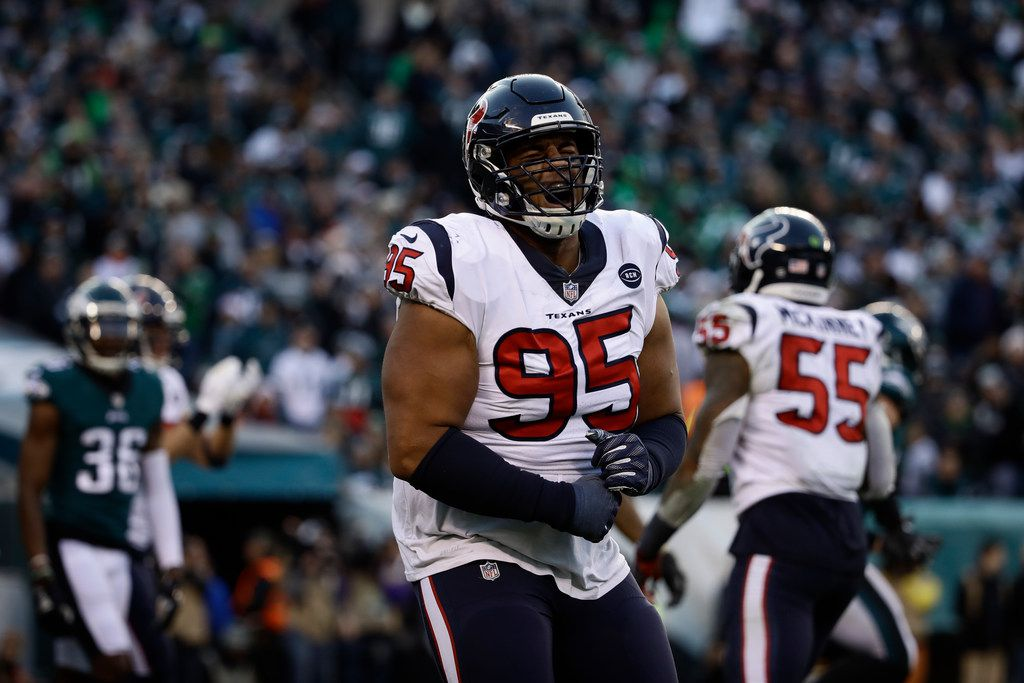 FILE - Houston Texans' Christian Covington reacts during the second half of an NFL football game against the Philadelphia Eagles, Sunday, Dec. 23, 2018, in Philadelphia. (AP Photo/Matt Rourke)