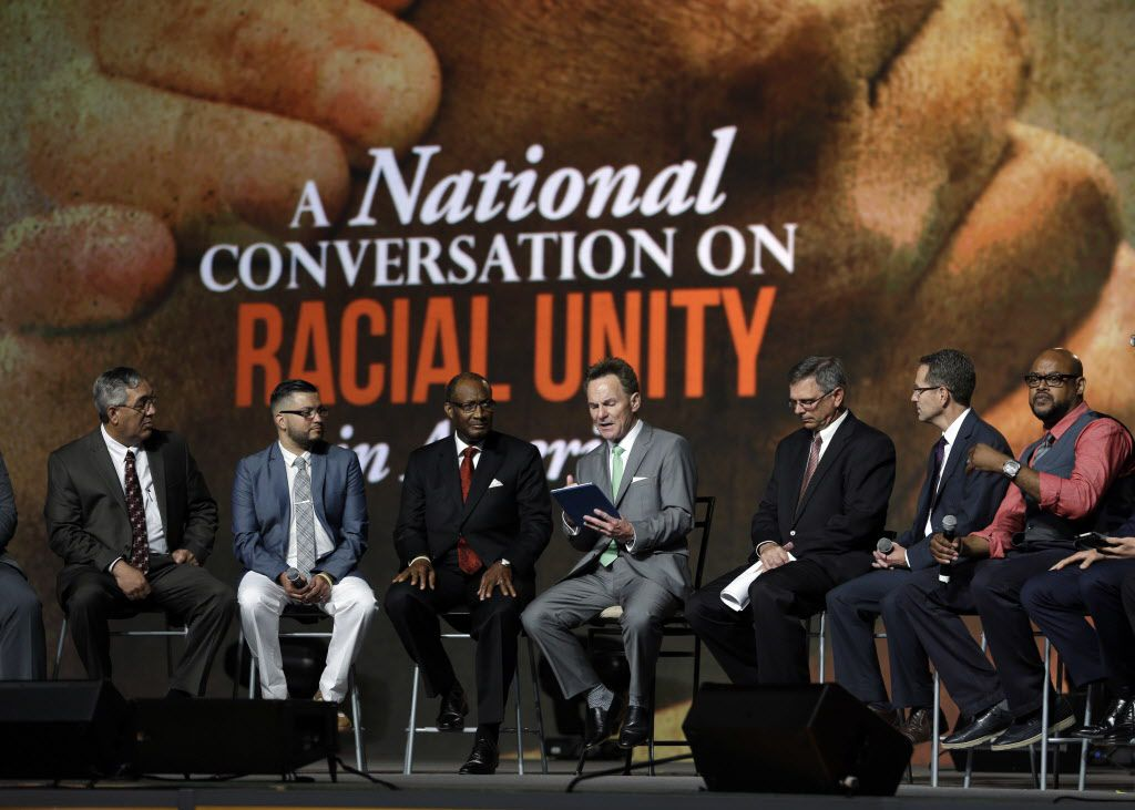 Pastor Ronnie Floyd (center), president of the Southern Baptist Convention, conducted a discussion on race with fellow religious leaders during Tuesday's meeting in St. Louis.