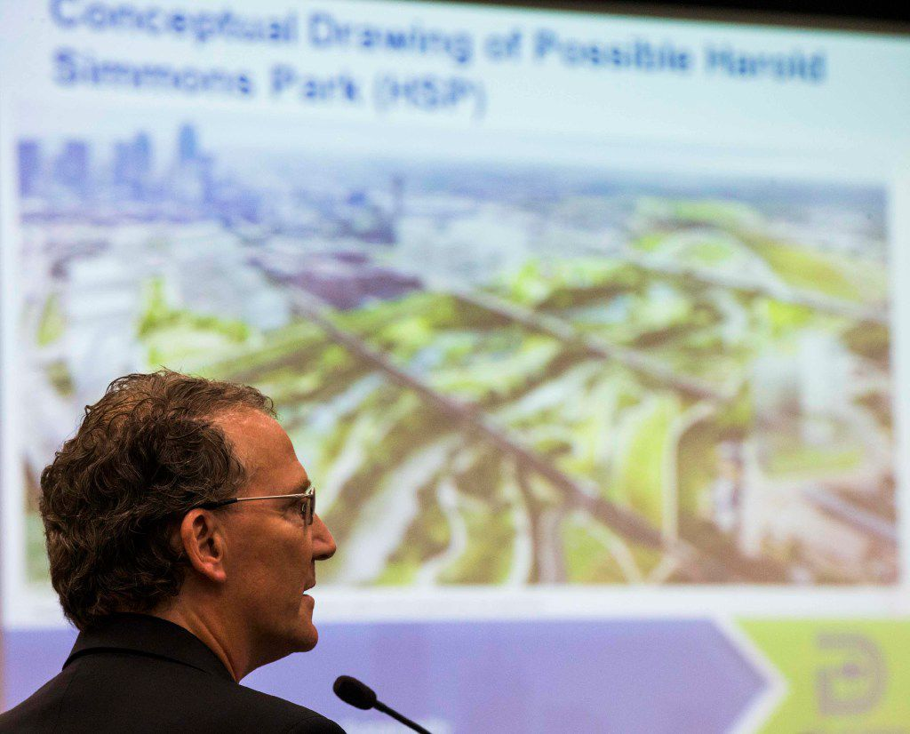 Developer Mike Ablon of PegasusAblon speaks as the Dallas City Council hears a briefing on the proposed Harold Simmons Park on Aug. 2, 2017 at Dallas City Hall.