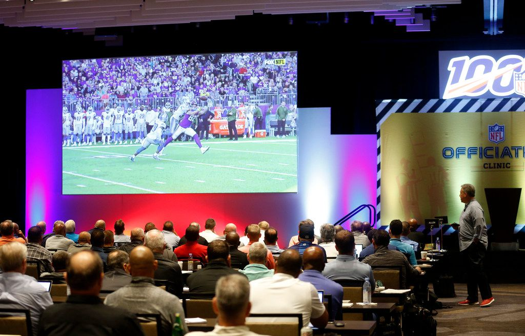 NFL senior vp of officiating Al Riveron talks about defensive pass interference as he explains the new rules for the upcoming season during the NFL Officiating Clinic at the Renaissance Dallas At Plano Legacy West Hotel in Plano, on Friday, July 12, 2019. (Vernon Bryant/The Dallas Morning News)