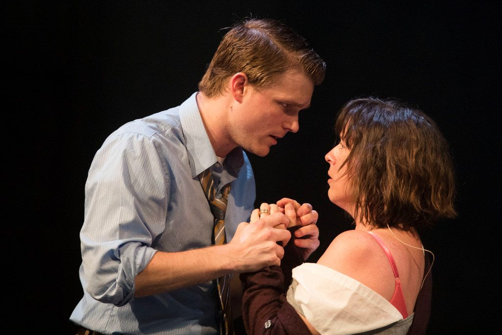 Kyle Igneczi (left), and Marianne Galloway in Angels in America presented by Uptown Players at Kalita Humphreys Theater on Nov. 2, 2016 in Dallas. Uptown Players will open Angels in America Part Two: Perestroika Sept. 28, the same night Banned Together: A Censorship Cabaret will present an excerpt from Angels in America.