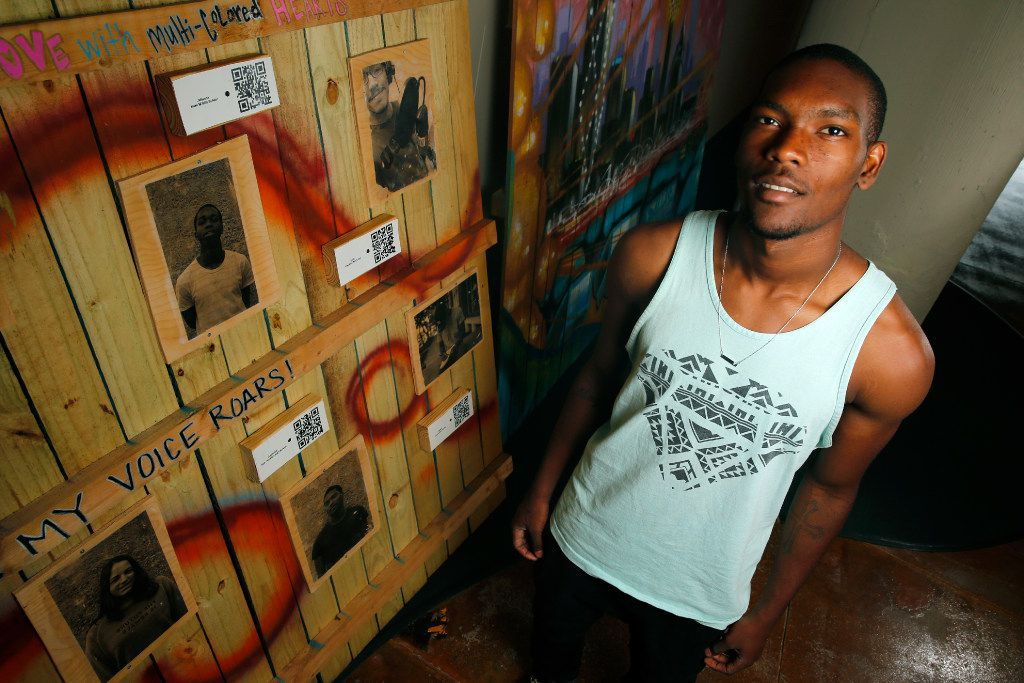 Vertiz Wood, 19, read his poetry for a Big Thought mural in Dallas on June 16.