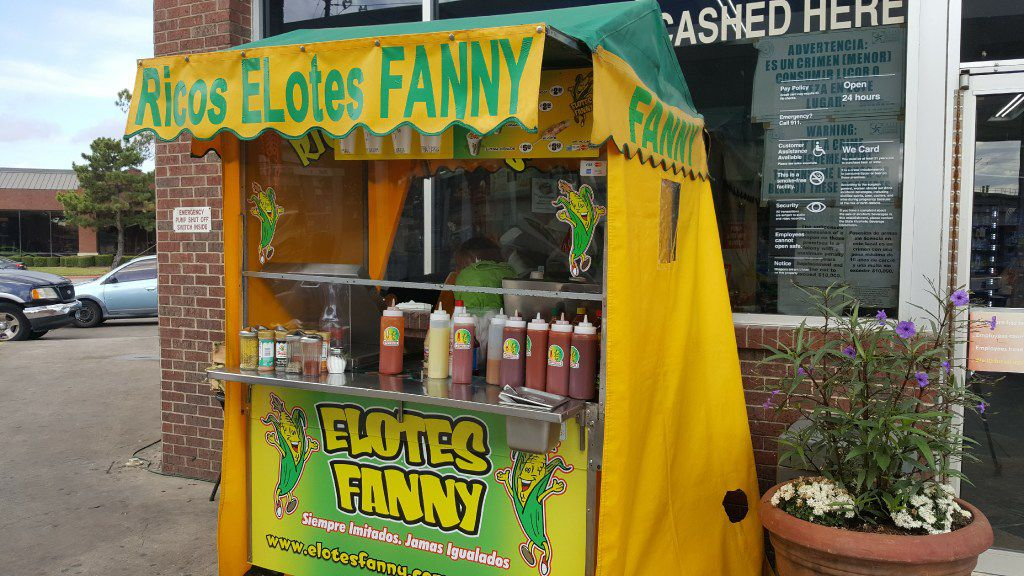 Susana Soto works at the Elotes Fanny stand in Dallas