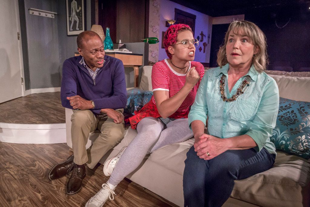 From left: Wilbur Penn, All Mims and Charlotte Akin  in the world premiere of Matt Lyle's comedy, Cedar Springs or Big Scary Animals.