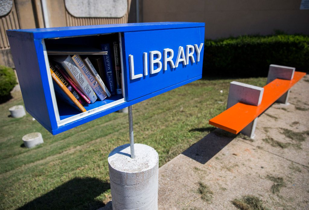 A little free library sits outside Moorland Family YMCA in Dallas.