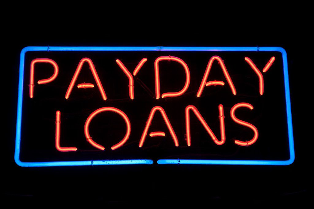 A  payday loan sign.