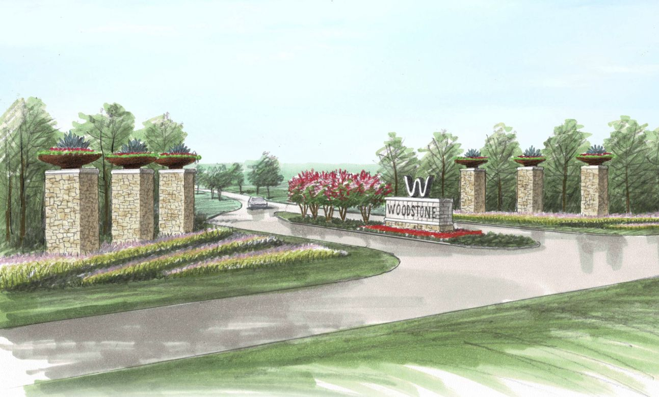 Planned entry to the new Woodstone community in Ferris.