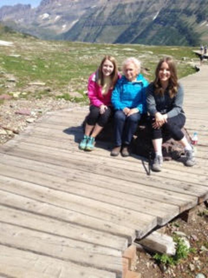 Nancy McCall (center), Nanette Light's grandmother, poses with Light (right) and her younger sister, Rebecca Light, at Glacier National Park in Montana in 2013.