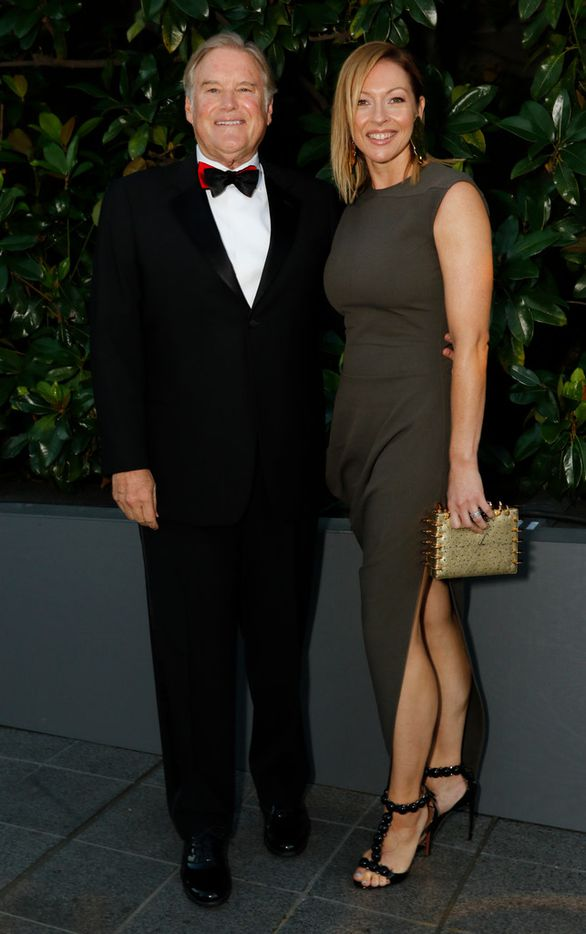 Tim Headington and Jeny Bania at the TWO x TWO for AIDS and Arts event at the Rachofsky House in Dallas on Oct. 27, 2018.