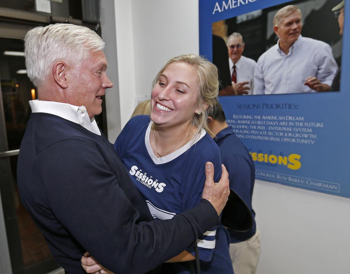U.S. Rep. Pete Sessions,  R-Dallas, greeted supporter Emily Ford on Tuesday at campaign headquarters in Dallas.