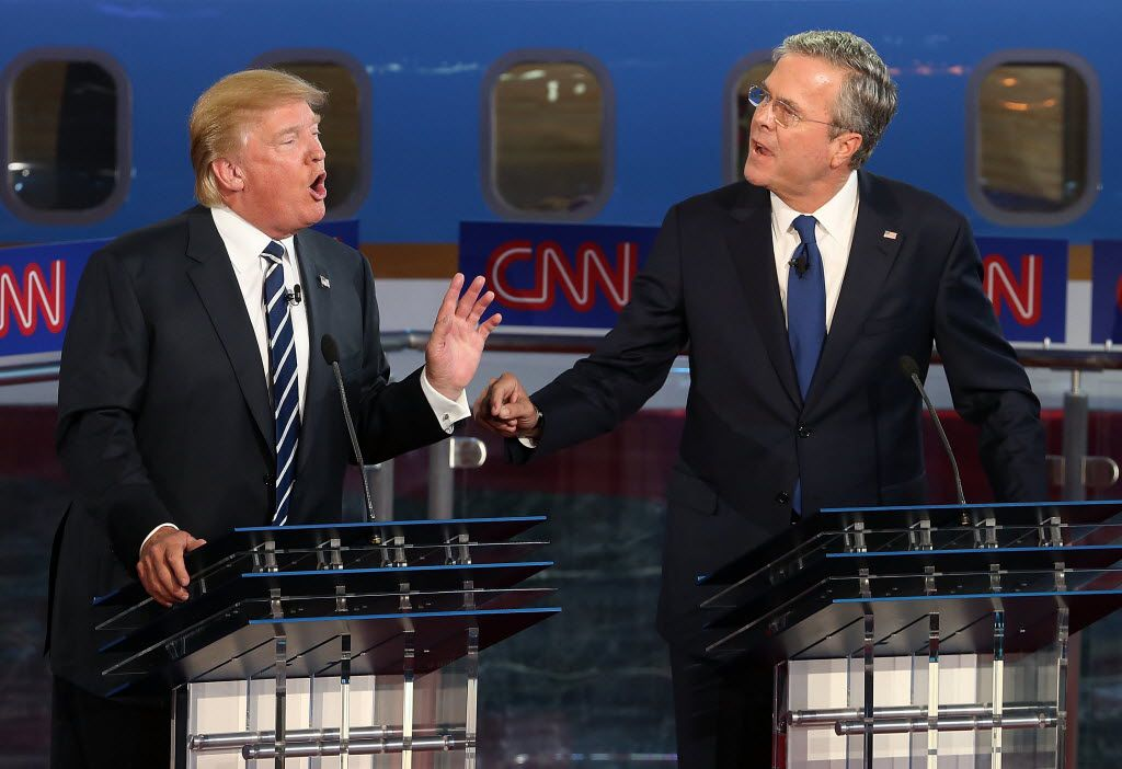 Donald Trump and Jeb Bush argued during the GOP presidential debate at the Reagan Library last September in Simi Valley, Calif.