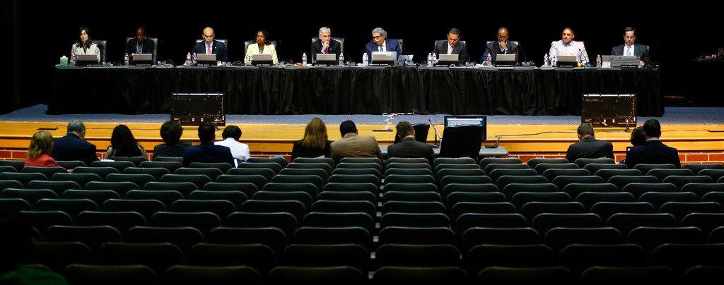 The DISD school board, during the public forum at Emmett J. Conrad High School in Dallas on Sept. 28, 2017.