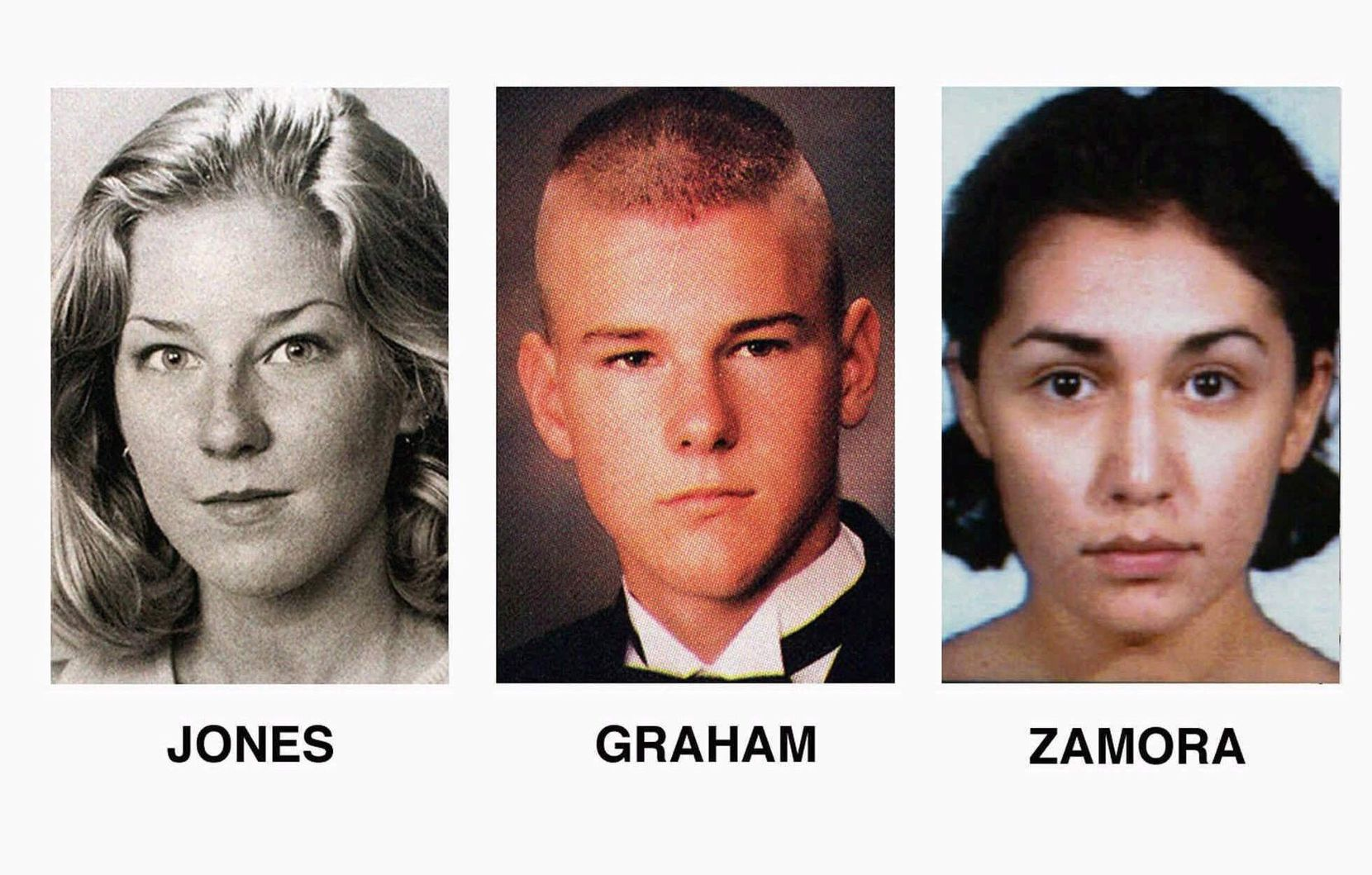 Adrianne Jones (left), David Graham and Diane Zamora, 18. The Jones and Graham photos are from the 1996 Mansfield HIgh School yearbook. Zamora is seen in a 1996 booking photo following her arrest in Jones' death.