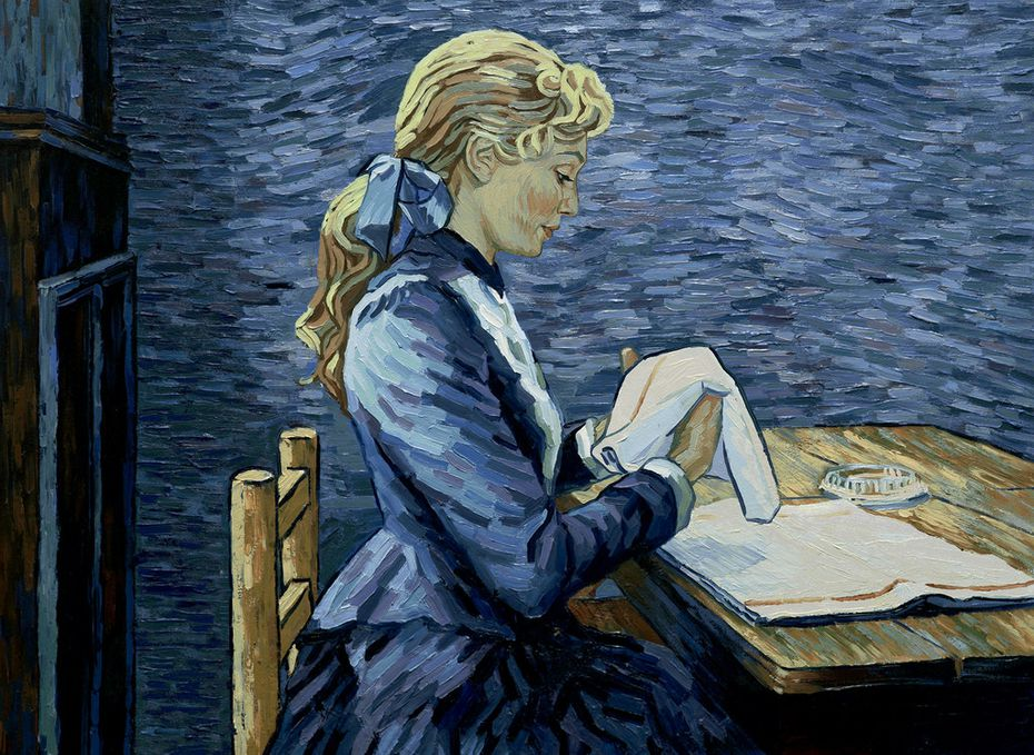 "Adeline Ravoux (voice of Eleanor Tomlinson) folds napkins in a scene from ""Loving Vincent."""