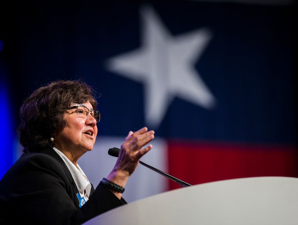 Gubernatorial candidate Lupe Valdez spoke during the Texas Democratic Convention on June 22, 2018, at the Fort Worth Convention Center.