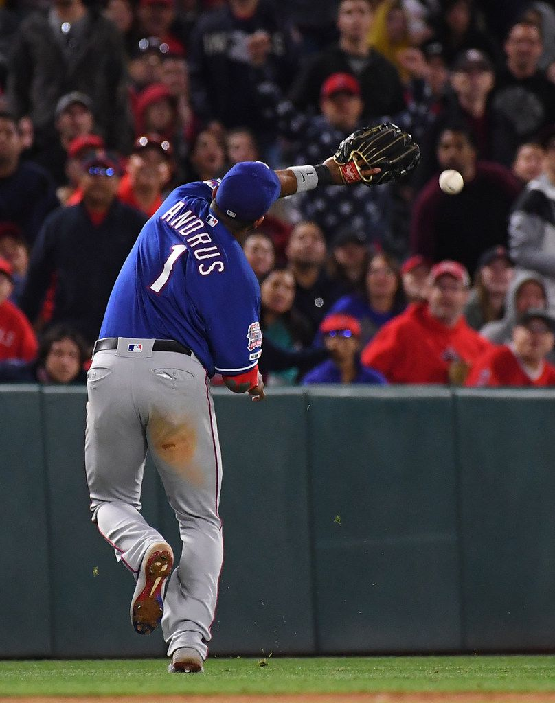 ANAHEIM, CA - MAY 25: Elvis Andrus #1 of thee Texas Rangers can't reach a walk off pinch hit single by Jared Walsh #25 of the Los Angeles Angels of Anaheim in the ninth inning of the game at Angel Stadium of Anaheim on May 25, 2019 in Anaheim, California. (Photo by Jayne Kamin-Oncea/Getty Images)