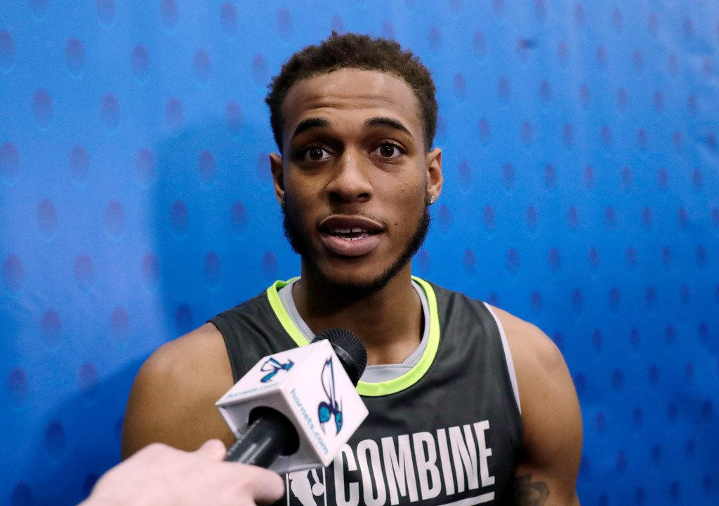 Daniel Gafford speaks with the media during the second day of the NBA draft basketball combine in Chicago, Friday, May 17, 2019. (AP Photo/Nam Y. Huh)