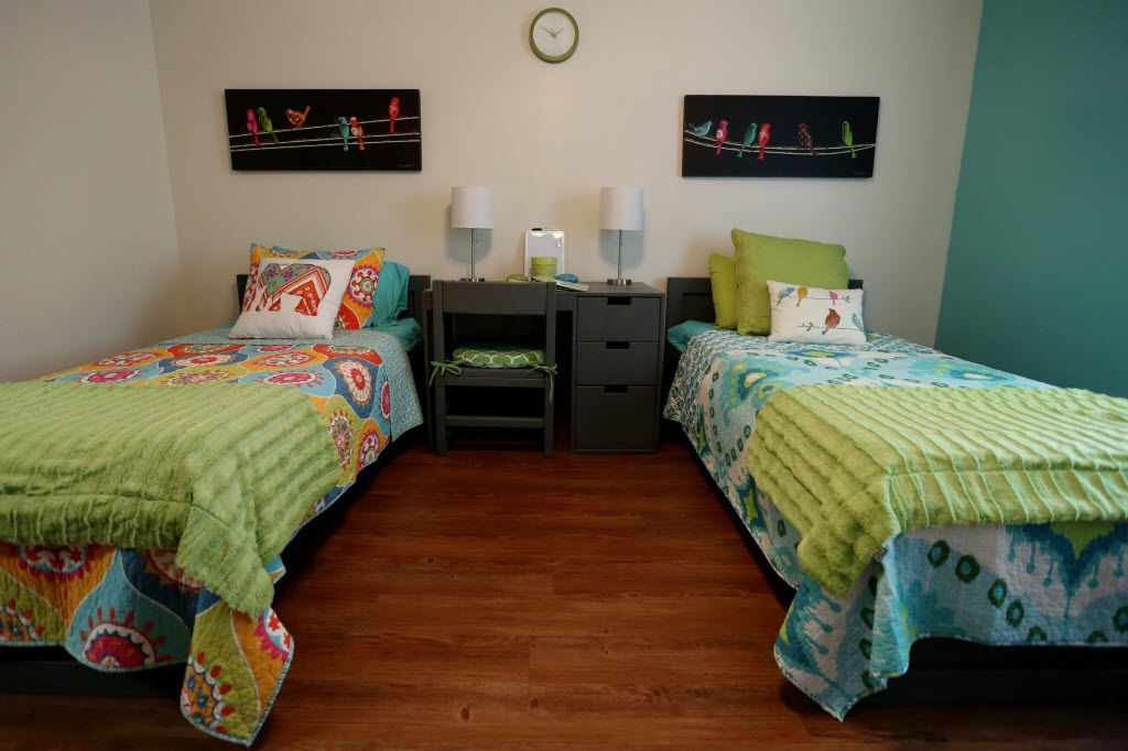 """One of the bedrooms in the """"The Ebby House"""" after its dedication in Dallas, Texas on May 21, 2014. """"The Ebby House,"""" as part of the Juliette Fowler Communities, will serve as a transitional community for young women who have aged out of foster care."""