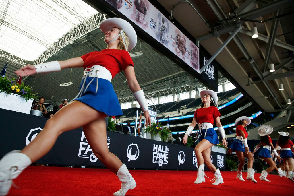 The Kilgore College Rangerettes perform during an enshrinement ceremony into the Cotton Bowl Hall of Fame at AT&T Stadium in Arlington on May 8, 2018.