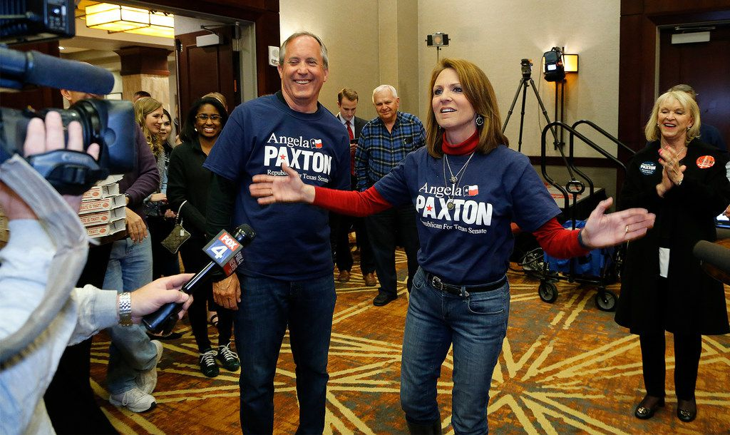 Ken and Angela Paxton made their appearance at her election return party at the Marriott Courtyard in Allen on Tuesday night, March 6, 2018.