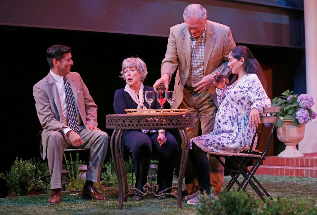 "From left: Ivan Jasso (as Pablo Del Valle), Lois Sonnier Hart (as Virginia Butley), John S. Davies (as Frank Butley) and Stephanie Cleghorn Jasso (as Tania Del Valle) in ""Native Gardens"" at WaterTower Theatre at Addison Theatre Centre."
