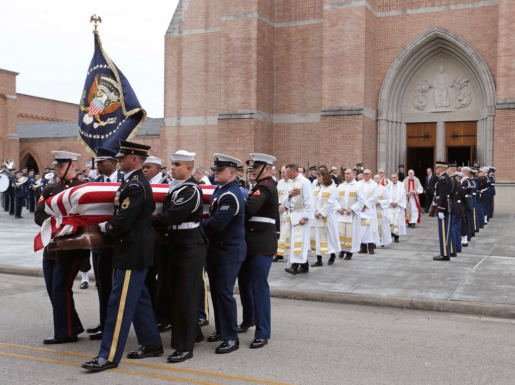 Pallbearers carry the casket at the state funeral service for George H.W. Bush, the 41st President of the United States, at St. Martin's Episcopal Church in Houston on Thursday, December 6, 2018.