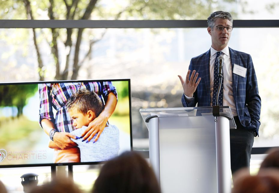 Grant Moise, president and publisher of The Dallas Morning News, speaks during The Dallas Morning News Charities 2019-20 Campaign Kickoff Reception at Winspear Opera House.
