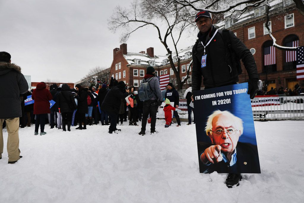 Supporters of Sen. Bernie Sanders wait to see him speak at Brooklyn College on March 02, 2019. Sanders, a staunch liberal and critic of President Donald Trump, was holding his first rally of his 2020 presidential campaign.