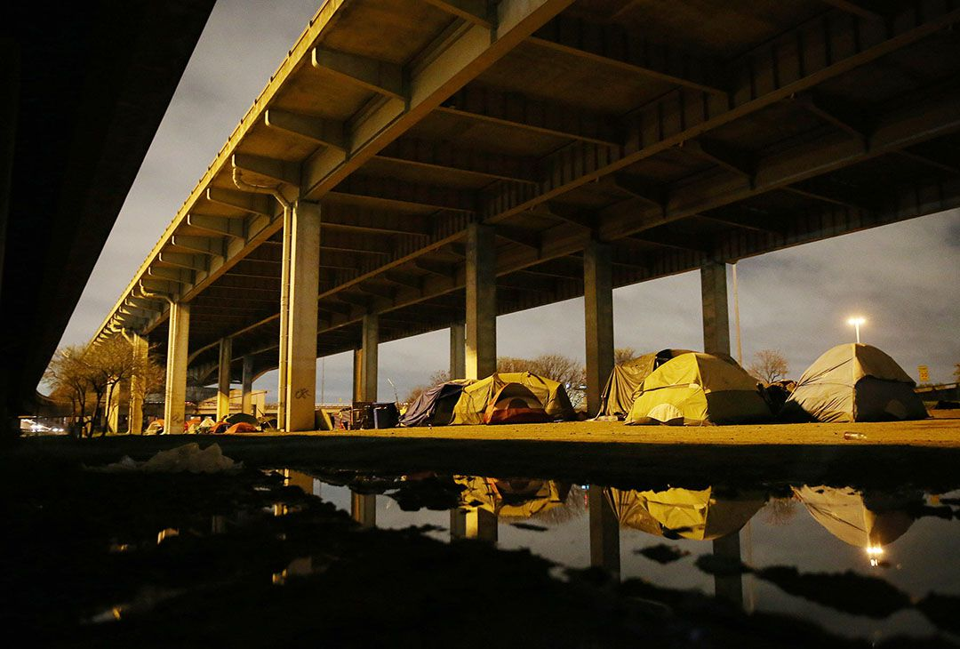 "A view of ""Tent City,"" the massive homeless encampment under Interstate 45, near downtown Dallas Thursday March 10, 2016. (Andy Jacobsohn/The Dallas Morning News)"