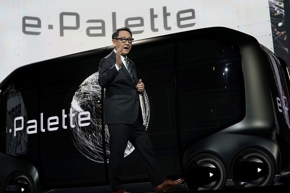 LAS VEGAS, NV - JANUARY 08: President of Toyota Motor Corporation Akio Toyoda speaks in front of the e-Palette Concept Vehicle, at CES 2018 on January 8, in Las Vegas, Nevada. C(Photo by Alex Wong/Getty Images