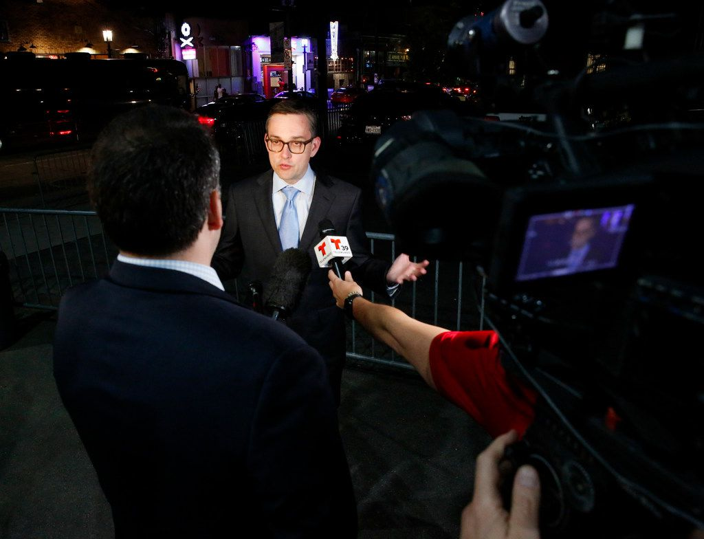 Scott Griggs talks to the media as he waited for final election results to make sure he made the runoff in the  Dallas Mayors race at Tree in Dallas on Saturday, May 4, 2019. (Brian Elledge/The Dallas Morning News)