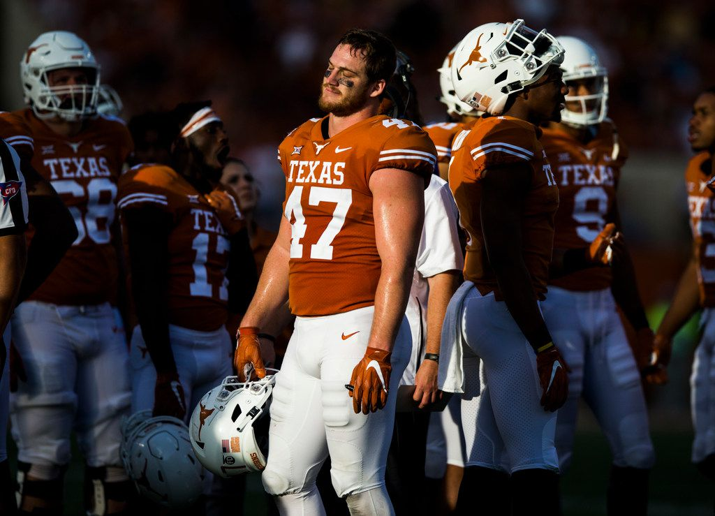 Texas Longhorns tight end Andrew Beck (47) reacts to a call overturning a touchdown during the fourth quarter of a college football game between the University of Texas and West Virginia on Saturday, November 3, 2018 at Darrell Royal Memorial Stadium in Austin, Texas. (Ashley Landis/The Dallas Morning News)