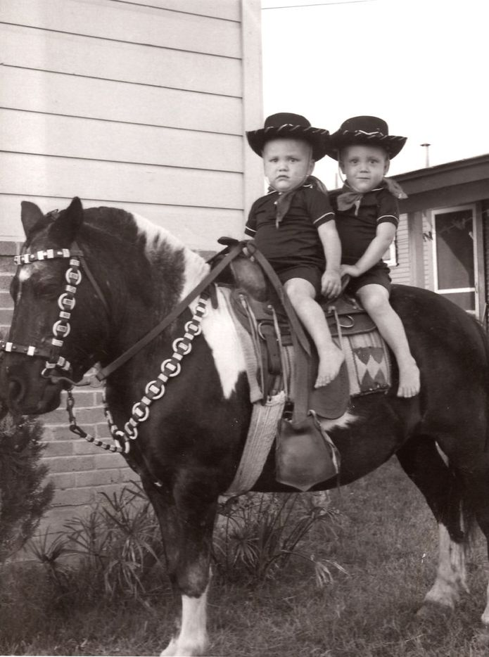 Younger brother Randy Fairless (front) with Rick Fairless on a Shetland pony that was making the rounds in their Irving neighborhood. Their mom paid $3 for the photo taken in 1959, when the close-knit brothers were 2 and 3.