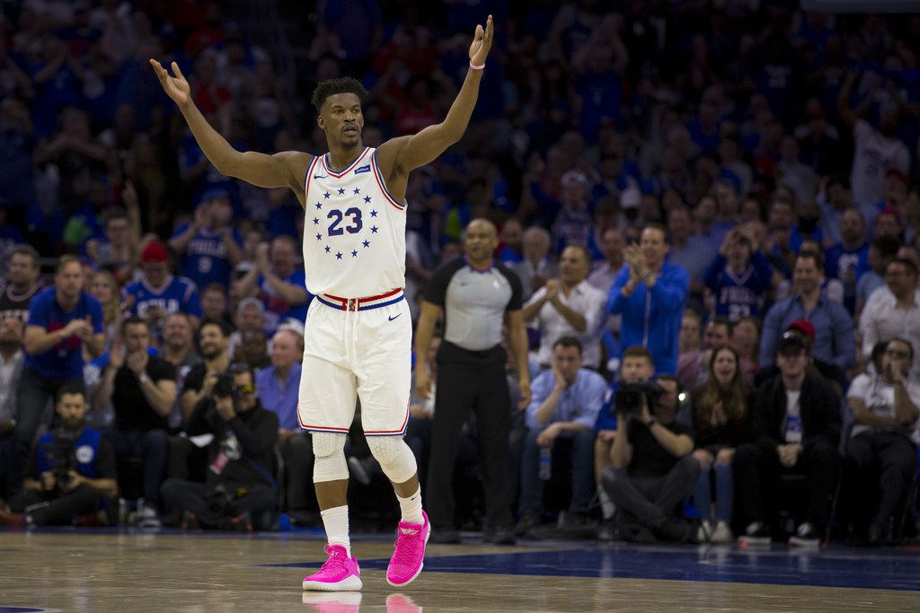 PHILADELPHIA, PA - MAY 02: Jimmy Butler #23 of the Philadelphia 76ers encourages the crowd to get loud against the Toronto Raptors in the second quarter of Game Three of the Eastern Conference Semifinals at the Wells Fargo Center on May 2, 2019 in Philadelphia, Pennsylvania. (Photo by Mitchell Leff/Getty Images)