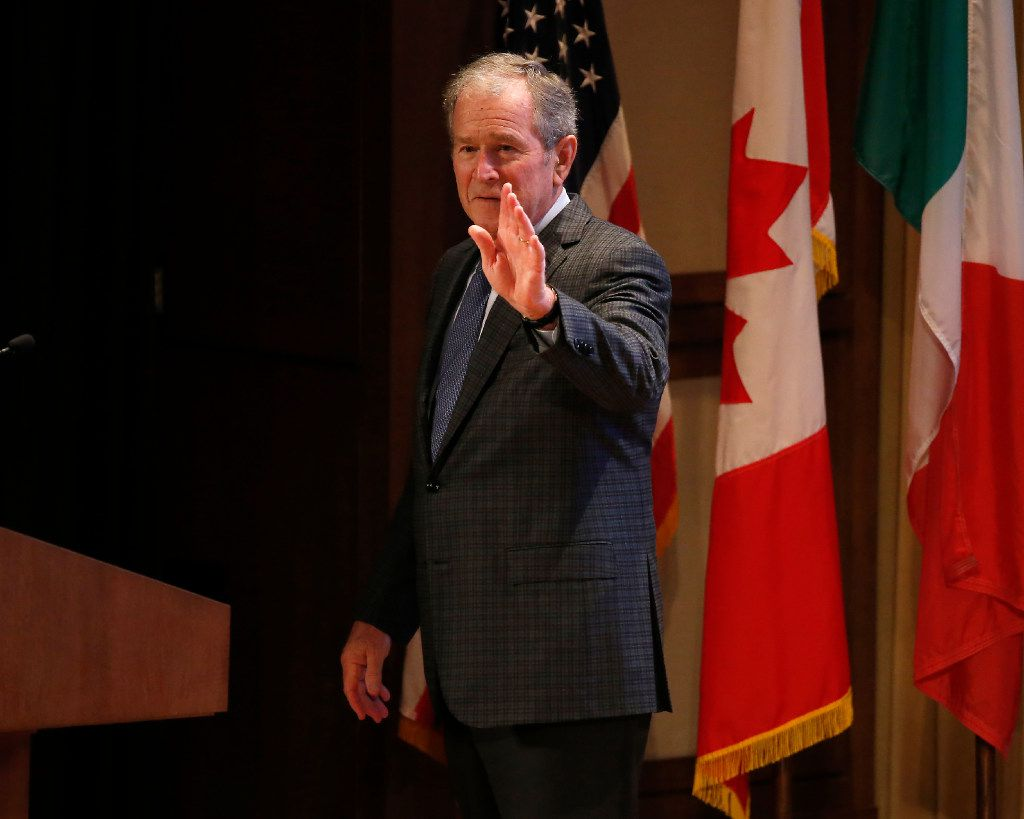 Former President George W. Bush waves after speaking during the 2016 North American Strategy for Competitiveness (NASCO) Continental Reunion at George W. Bush Presidential Center in Dallas, Tuesday, Nov. 15, 2016. (Jae S. Lee/The Dallas Morning News)
