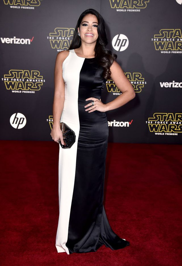 """Gina Rodriguez arrives at the world premiere of """"Star Wars: The Force Awakens"""" at the TCL Chinese Theatre on Monday, Dec. 14, 2015, in Los Angeles."""