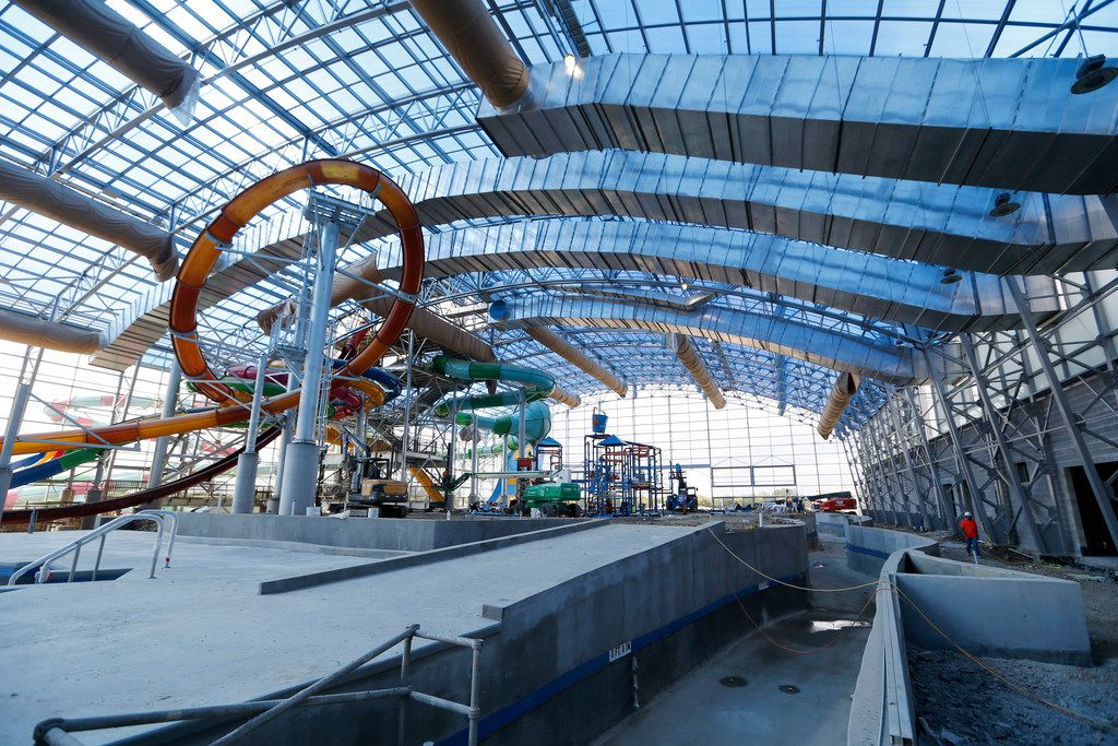 Lazy river in the foreground in an overall view during a tour of Epic Waters Indoor Waterpark in Grand Prairie on Tuesday, October 3, 2017. The park is still under construction and scheduled to open later this year. (Vernon Bryant/The Dallas Morning News)