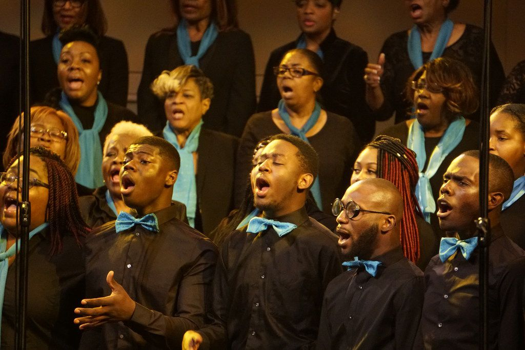 """The 200-member choir sang old and new songs during the """"Black Music and the Civil Rights Movement Concert"""" at the Morton H. Meyerson Symphony Center in Dallas on Jan. 14."""