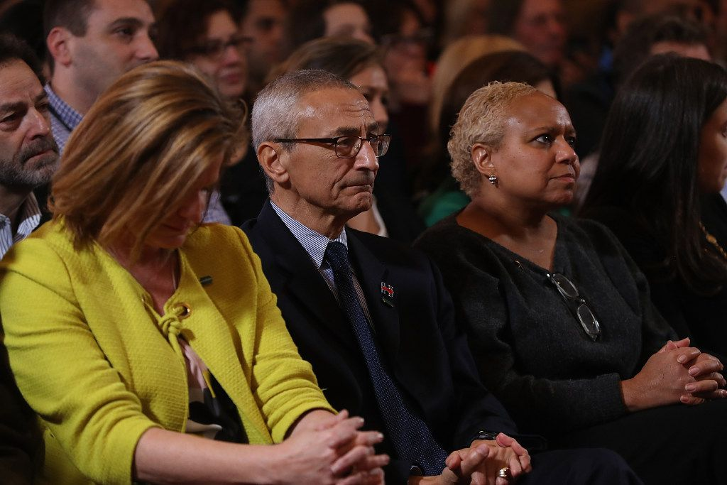 John Podesta, Hillary Clinton's campaign chairman, looks on as publicly conceded defeat.
