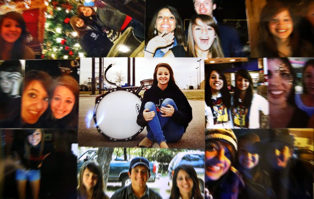 Sara Mutschlechner, the 20-year-old University of North Texas student killed early Jan. 1 in a road rage incident, is pictured with her friends in a photo collage hanging in her room of her parents Martindale, Texas home, Thursday, February 4, 2016. She marched in the high school band playing the bass drum. (Tom Fox/The Dallas Morning News)