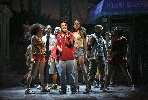 Lin-Manuel Miranda (center) as Uanavi in the musical In the Heights at the Richard Rodgers Theater in Manhattan, Feb. 13, 2008.