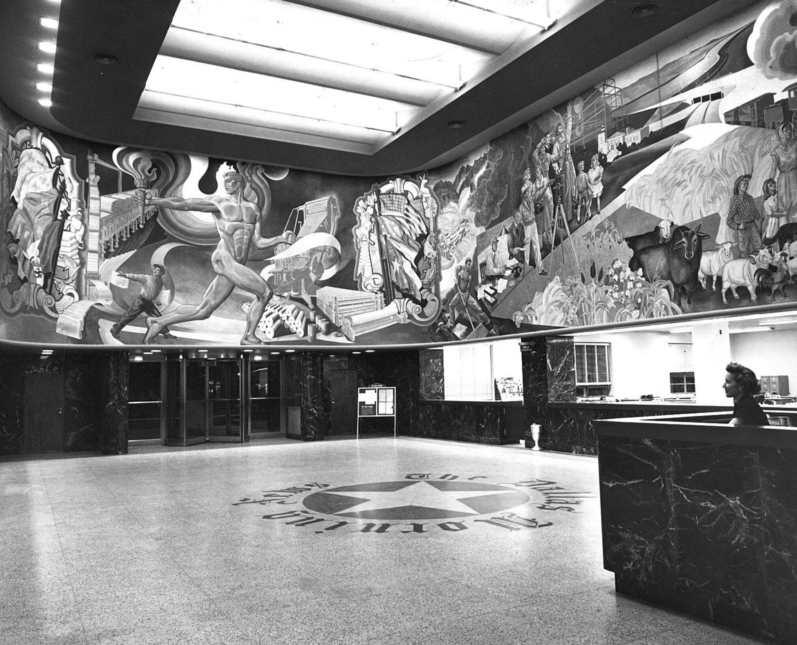 Perry Nichols mural in lobby of the Young Street building before renovations began in 1970.