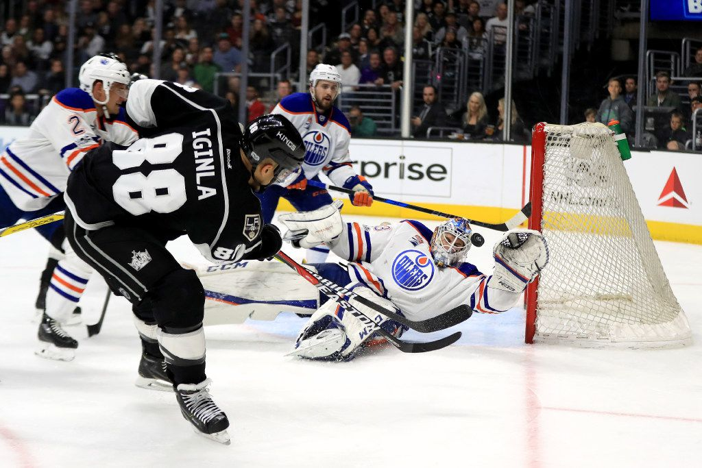 LOS ANGELES, CA - APRIL 04:  Cam Talbot #33 of the Edmonton Oilers blocks a shot on goal by Jarome Iginla #88 of the Los Angeles Kings during the second period of a game at Staples Center on April 4, 2017 in Los Angeles, California.  (Photo by Sean M. Haffey/Getty Images)