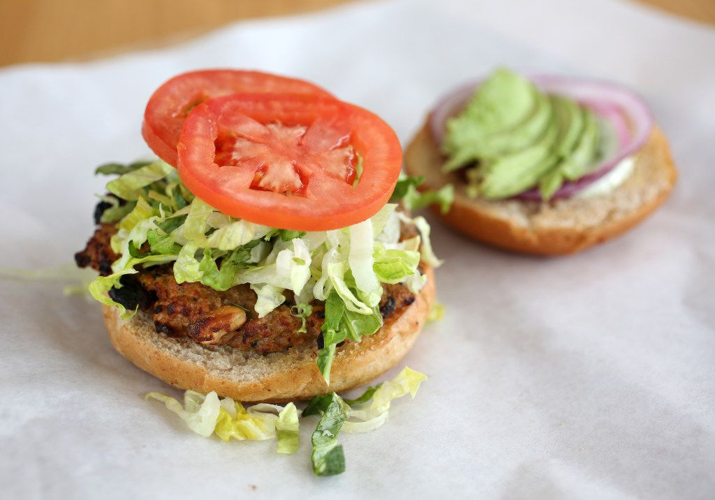 The Veggie-Bean-Quinoa Burger with avocado, romaine, tomato, red onion and buttermilk dressing photographed at Start in Dallas on Friday, Feb. 17, 2017. (Rose Baca/The Dallas Morning News)
