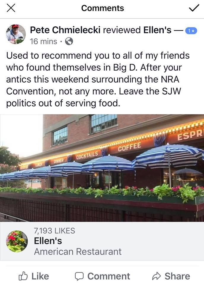 There have been a few protests of Ellen's gun safety message on the restaurant's receipts.