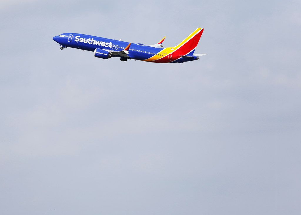 A Southwest Airlines plane takes off from Dallas Love Field in Dallas.