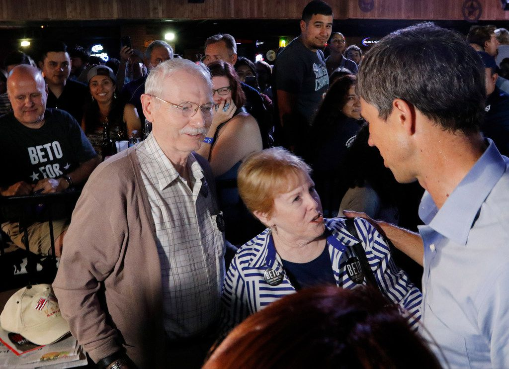 Wayne and Charlene Gilbert, of Katy, Texas, talk with Beto O'Rourke after a rally at the Houston Stampede Event Center in Houston Texas, on Saturday, September 8, 2018. Ted Cruz campaigned in Humble, Texas, Texas on Saturday, while Beto O'Rourke campaigned a few miles away in Houston, Texas.