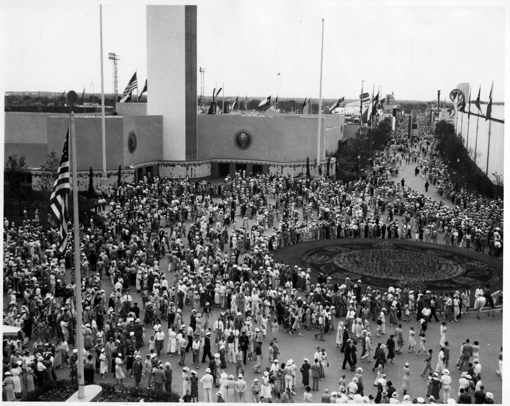 Visitors crowd the plaza in front of the Federal Building at Fair Park during the Texas Centennial Exposition in 1936. The Dallas Museum of Natural History made its debut during the Centennial Exposition.
