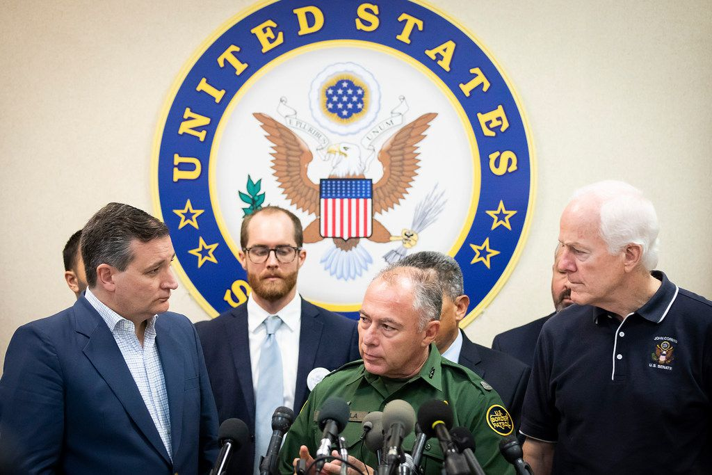 Senators Ted Cruz (left) and John Cornyn (right) join U.S. Border Patrol, RGV Sector, Chief Manuel Padilla to address a press conference following a roundtable discussion at the Weslaco Border Patrol Station on Friday, June 22, 2018, in Weslaco, Texas. The Texas Senators held the roundtable with representatives of federal agencies, non-profits and local elected officials involved in handling immigrant families.