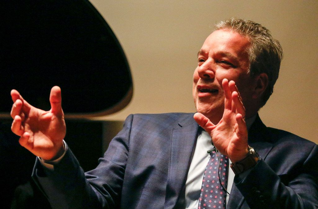 "Cliburn CEO Jacques Marquis describes some of what students who attend Cliburn learn during the Morning News' first ""Duets"" event held at the Dallas Public Library in Dallas on Tuesday, March 5, 2019. One of the things he said is that students learn how to use social media as they navigate their careers. (Daniel Carde/The Dallas Morning News)"